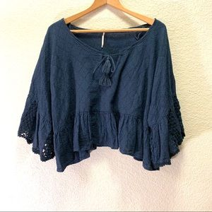 Free People Navy Oversize Crocheted Style Crop Top